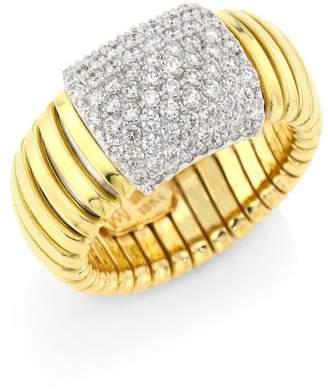 Bagutta Alberto Milani Via 18K Gold & Diamond Coiled Rectangle Ring