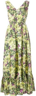 MSGM Floral Print Long-Length Dress