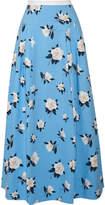 Draper James Pleated Printed Cotton-piqué Maxi Skirt - Light blue