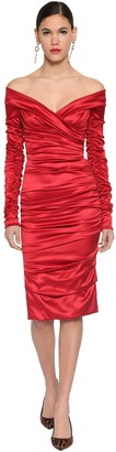 Dolce & Gabbana Draped Stretch Satin Midi Dress