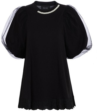 Simone Rocha Embellished cotton and tulle top