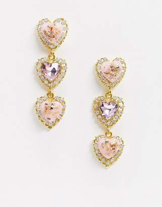 French Fashion House drop earrings in pink crystal hearts