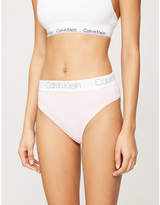 Calvin Klein High-rise logo-embroidered stretch-jersey thong