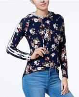 Ultra Flirt Juniors' Floral-Print Striped-Trim Hoodie