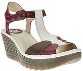 Fly London As Is Leather Adj. T-strap Wedge Sandals - Yila