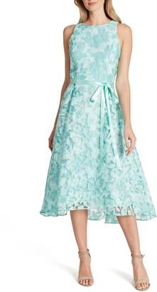 Tahari Floral Burnout Chiffon Midi Dress