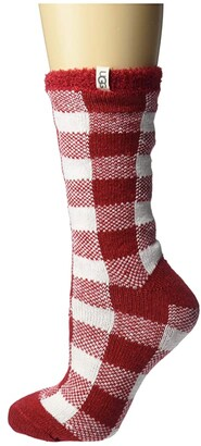 UGG Vanna Check Fleece Lined Sock (Red/White) Women's Crew Cut Socks Shoes