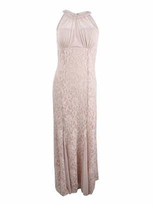 Night Way Nightway Women's Roller Glitter Lace Illusion Bead Neck Petite