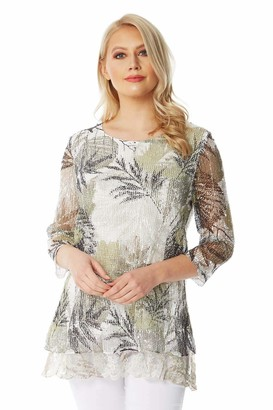 Roman Originals Women Lace Trim Mesh Overlay Leaf Abstract Print Top - Ladies Spring Summer Holiday Casual Travel Packing Net Layer Round Neck 3/4 Sleeve Tops - Khaki - Size 10