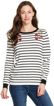 Izod Women's Floral Embroidered Striped Sweater