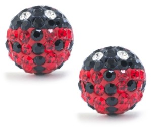 Giani Bernini Black and Red Pave Crystal Lady Bug Stud Earrings set in Sterling Silver