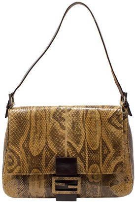 Fendi Limited Edition Brown Python Leather Mama Baguette