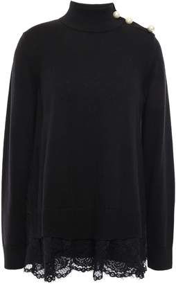 Kate Spade Lace-trimmed Faux Pearl-embellished Knitted Turtleneck Sweater