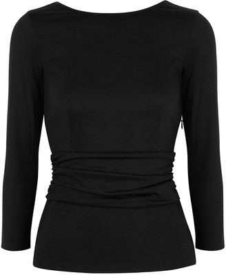 Paule Ka Black Ruched Stretch-cotton Top