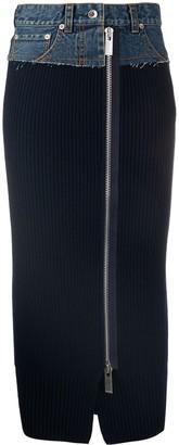 Sacai Ribbed-Knit Denim Pencil Skirt