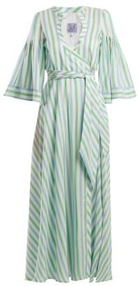 Thierry Colson Sultane Striped Silk Maxi Dress - Womens - Green Stripe