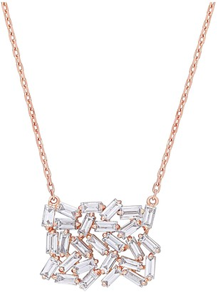 Affinity Diamond Jewelry Affinity 0.90 cttw Diamond Cluster Necklace, 14K Rose Gold