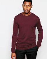 Asos Crew Neck Sweater in Burgundy Cotton