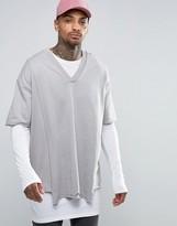 Asos Super Longline Double Layer V-Neck Sweatshirt