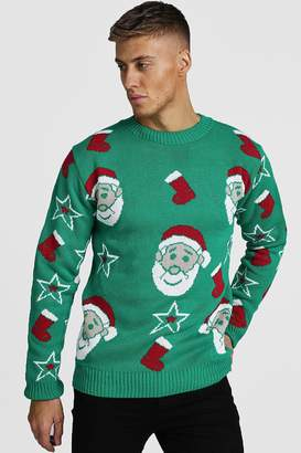 boohoo All Over Santa Knitted Christmas Jumper
