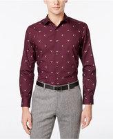 Bar III Men's Slim-Fit Wine Reindeer Print Dress Shirt, Only at Macy's