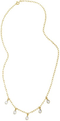 ADORNIA 14K Yellow Gold Vermeil Pear-Cut Stone Necklace