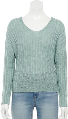 So Juniors' Long Sleeve Bar Back Sweater