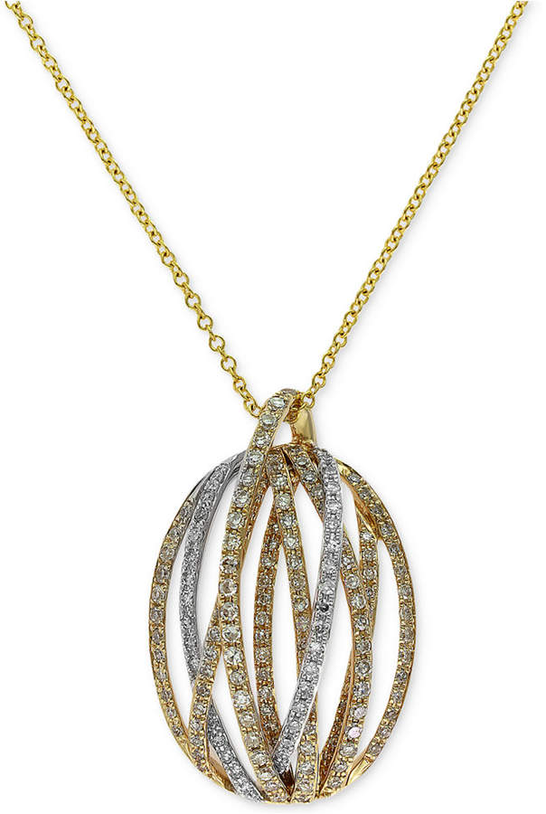 Effy Duo by Diamond Pendant Necklace (5/8 ct. t.w.) in 14k Gold and White Gold