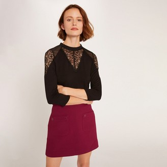 Morgan Lace High-Neck T-Shirt