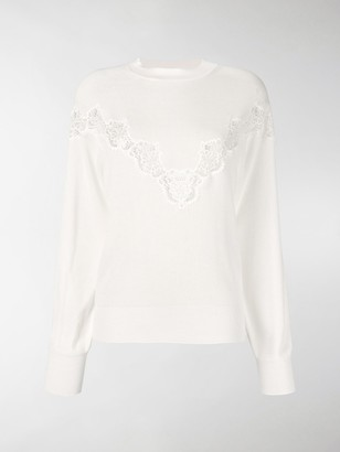 See by Chloe Lace Panel Oversized Sweater