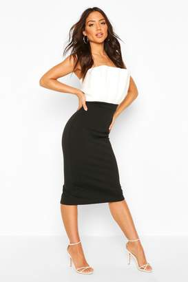 boohoo Colour Block Pleated Top Bandeau Midi Dress