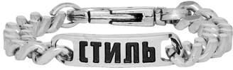 Heron Preston Silver Curb Chain Style Bracelet