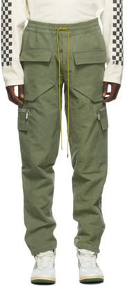 Rhude Green Canvas Cargo Pants