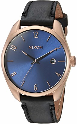 Nixon Women's Bullet Stainless Steel Japanese-Quartz Watch with Leather-Synthetic Strap