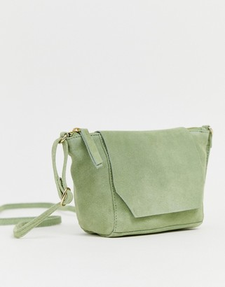 Asos Design DESIGN suede angled flap cross body bag-Green