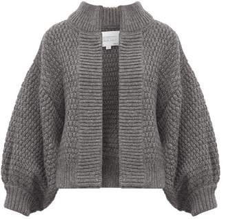 I Love Mr Mittens Balloon Sleeve Moss Stitched Wool Cardigan - Womens - Dark Grey