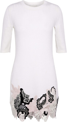 3.1 Phillip Lim Guipure Lace And Metallic Ribbed Wool-blend Mini Dress