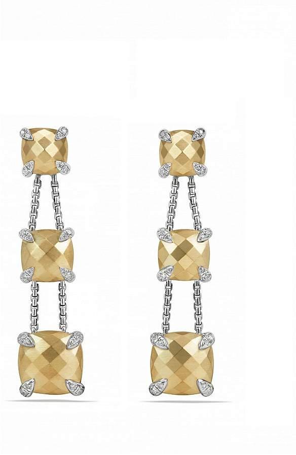 David Yurman Ch'telaine Linear Chain Earrings with 18K Gold and Diamonds