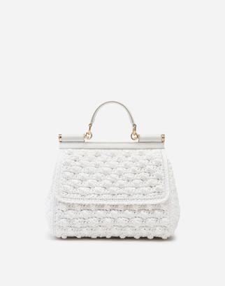 Dolce & Gabbana Medium Sicily Bag In Raffia Crochet