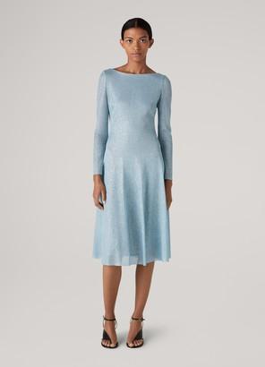 St. John Inlay Sparkle Knit Fit & Flare Dress