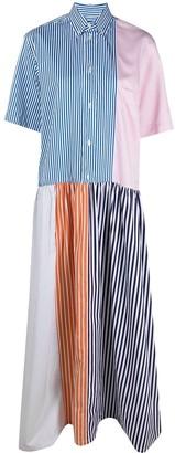 Plan C Striped Flared Shirt Dress