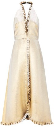 Temperley London Moon Garden Halterneck Shot-lame Dress - Womens - Gold