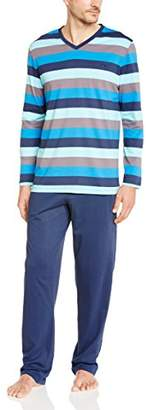 Hom Men's Striped Pyjama Set - Blue
