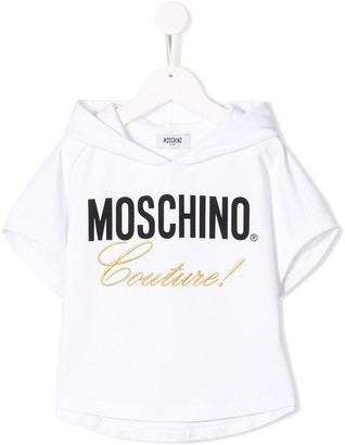 Moschino Kids logo hooded T-shirt
