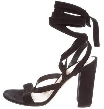 Gianvito Rossi Lace-Up Suede Sandals