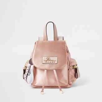 River Island Womens Pink satin drawstring backpack