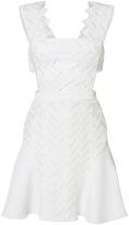 David Koma Zig Zag Motif Macram A-Line Dress