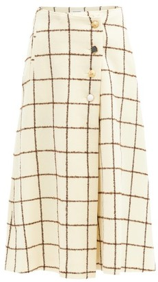 Wales Bonner Checked Wool-blend Wrap Skirt - Ivory