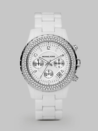 Michael Kors Madison Stainless Steel & White Acetate Glitz Chronograph Bracelet Watch