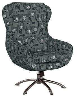 "Ivy Bronx Mount Ida Swivel 20"" Armchair Fabric: Charcoal Gray Modern Tulip"